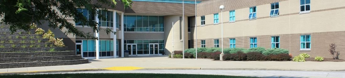 Exterior of Lynn Camp Middle High School showing front entrance