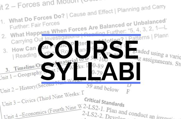 Course Syllabus graphic with parts of syllabi showing in background