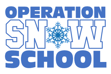 Operation Snow School logo for KCPS with a snowflake in the middle of the word snow.