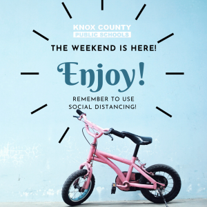 Infographic with pink bicycle with text the weekend is here.