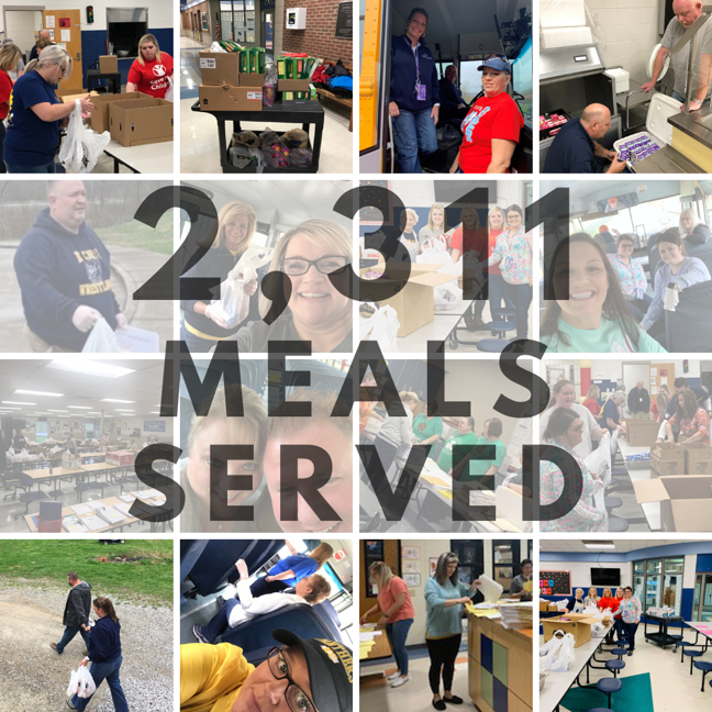 Photo collage of meals being prepared for students with text overlay.