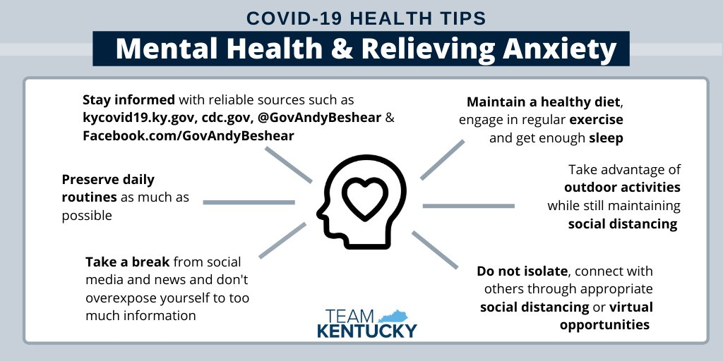 Mental Health tips from Kentucky COVID-19 website