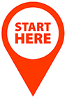 Location Pin with start here text