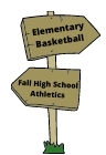 Recreation road sign showing basketball and high school sports
