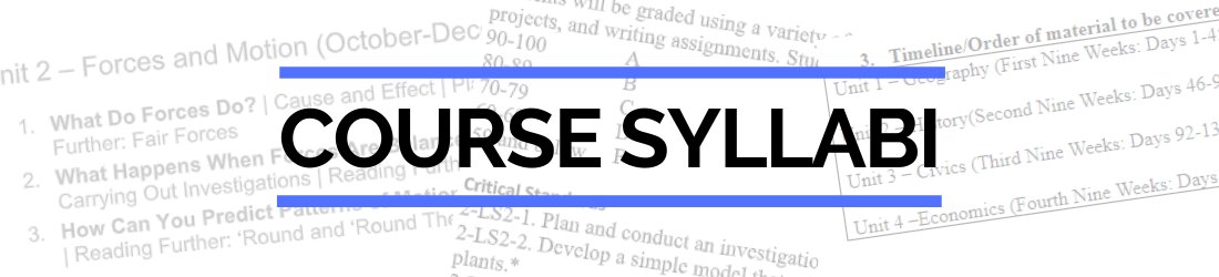 Course syllabi header with pages of syllabi in background