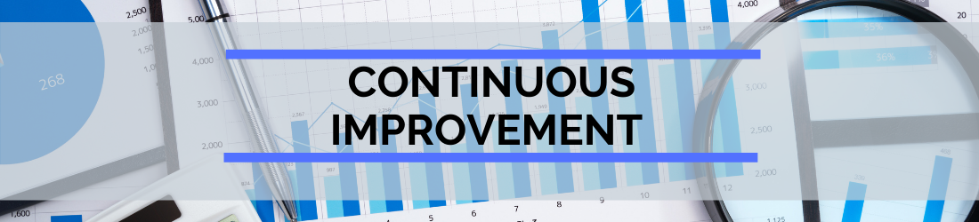 Header with text Continuous Improvement and data charts as background