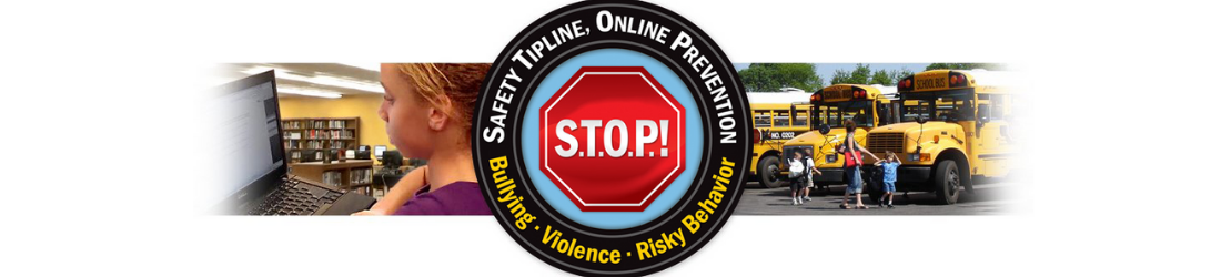 Stop Tipline logo with school buses and student in background