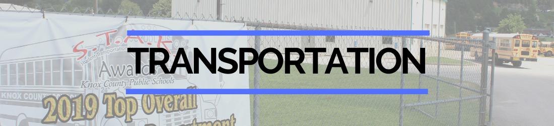 Transportation page header of outside bus garage