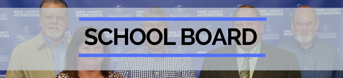 School board page header showing faces of board members