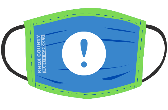 clipart mask with exclamation point logo centered