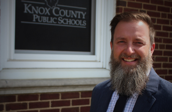 Jeremy Ledford shown outside the Board of Education office