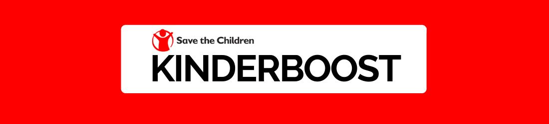 Kinderboost logo on red background