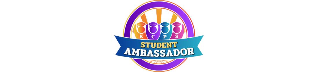 Student Ambassador circle logo with 4 students behind banner